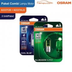 Paket COMBI - Osram Lampu Depan Motor Bebek MC 62337CB + 62337ALS - 2 Each/Set
