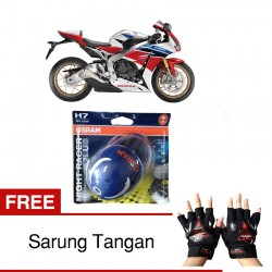 Jual Osram Lampu Motor Honda CBR 1000RR Night Racer Plus H7 High/Low Beam - Free Sarung Tangan - dg Harga Murah
