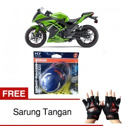 Jual Osram Lampu Motor Kawasaki Ninja 300 Night Racer Plus H7 High/Low Beam - Free Sarung Tangan - dg Harga Murah