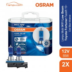 Jual Osram Lampu Mobil Toyota Fortuner Facelift 2015-on Low Beam - H11 Cool Blue Advance - 62211CBA - Biru - dg Harga Murah
